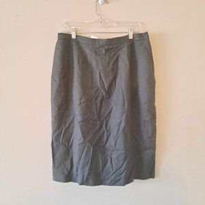 Linen Olive Green Straight Knee Skirt